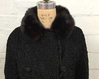 Gorgeous Double Breasted Black Persian Lamb Coat with Dark Brown Mink Fur Collar - Vintage - FREE SHIPPING