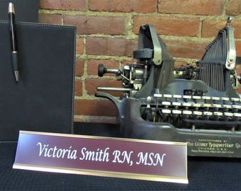 """Custom Desk Plate - Gold Metal Holder w/ Choice of Insert Color - Gold Metal Name Plate - Personalized Name Plate - 2.25"""" X 10"""""""