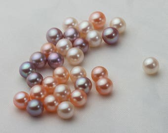 Round Fresh Water Pearl, Loose Pearl Bead No Hole, Natural White,Pink and Purple,100% Real Pearl