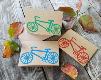 Hand printed  bicycle note cards - handmade cards - bike cards - block printed cards