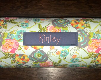 """Personalized Preschool Nap Mat in Art Gallery Garden Rocket Turquoise with Removable Pillow,  blanket and 1"""" memory foam"""