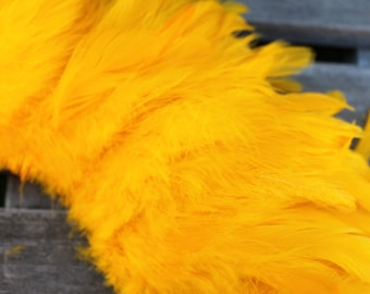 Schlappen feather- 4 to 6 nch length- gold, ilima color-gold, dark yellow chicken feathers