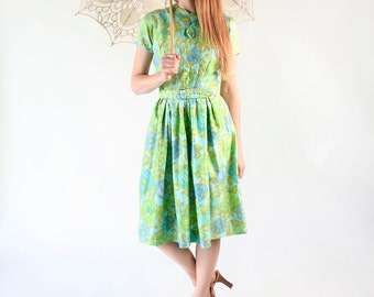 Vintage 1960s Dress - Watercolor Mint Green and Sky Blue Floral Day Dress - Medium
