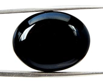 Black Onyx Cabochon Stone (22mm x 18mm x 6mm) - Oval Cabochon - Gem for Ring