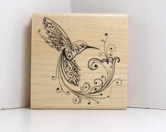 Flourished Hummingbird and Flower Rubber Stamp