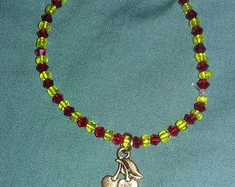 Pac-Man Cherry Charm Beaded Bracelet