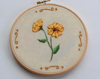 Yellow Flower Embroidery Hoop/ Embroidery Hoop Art/ Hand Embroidered Hoop/ Embroidery Hoop Art