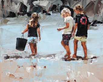 Canvas print, of my, original artwork, impressionist, oil painting, 'Collecting Pippies II', classic artwork, beach art