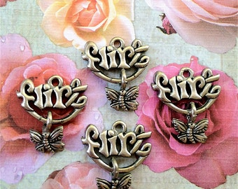 Flirt Charms -4 pieces-(Antique Pewter Silver Finish)--style 721--Free combined shipping