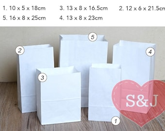 50 WHITE paper bag, lolly candy cookie bag for wedding, birthday, engagement, baby shower, Brown paper bag - multi size
