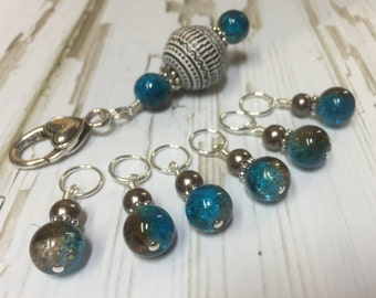 Snag Free Stitch Markers with Beaded Holder-  Blue & Brown Cracked Glass Beaded Knittng Markers- Gift for Knitters- Knitting Bag Accessory