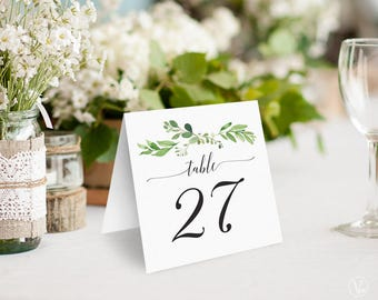Greenery Wedding Table Numbers 1–40, Printable Wedding Table Numbers, INSTANT DOWNLOAD, 5x5 Foldover, Tented, Garden Greenery