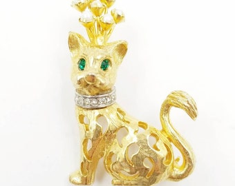 Vintage Signed JEANNE Cat Brooch with Faux Pearl Crown, Gold Tone Cat Pin, Rhinstone Cat Pin, Animal Brooch