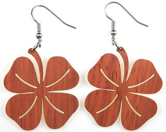 Four Leaf Clover, Laser Cut, Wood Earring