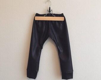 Vegan leather baby leggings, pleather, Faux Leather Leggings, leather, leggings, pants, leather baby leggings, biker chick, black