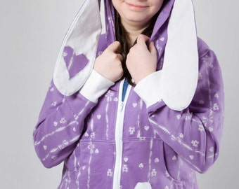 Bunny-hoodie style sweatshirt Purple and white