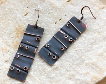 Copper Charcoal Dangle Earrings - fold formed grey patina handcrafted metal jewelry
