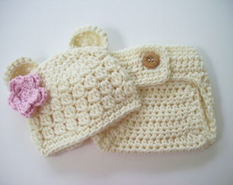 Baby Girl Bear Outfit,Crochet Baby Outfit, Newborn Bear Outfit, Newborn Girl Photo Outfit, Girl Coming Home Outfit, Teddy Bear Outfit