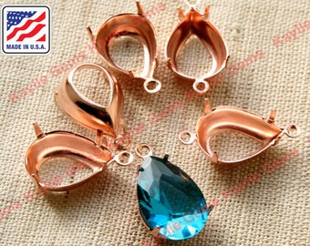 14x10 Rose Gold Prong Settings Teardrop Open Back 1 Ring or 2 Ring - 12pcs
