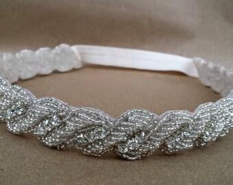 Vintage Rope Rhinestone Bridal Headband; Elastic Bridal Headpiece; Single Strand Bridal Headband; Updo Wedding Headpiece; Beaded Headband