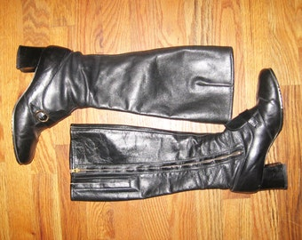 Vintage Rare Black Talon Zipper Gold Buckle Cat Paw Chunky Heel Thigh High Twiggy Leather Mod Go Go Boots Size 7M