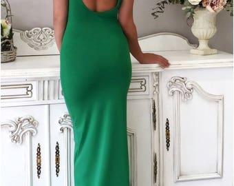 Evening Bridesmaid Dress/ Backless Sleeveless Long Bodycon Dress Round Neck