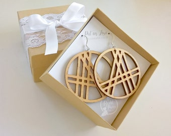 Gift for Her: A Pair of Light Maple Wood Hoop Earrings around a CrissCross Tribal Pattern with Sterling Silver Earring Wires