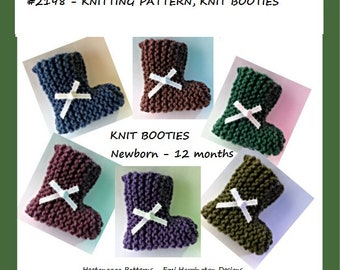 KNIT BOOTIES PATTERN, Knitting Patterns, Knitting for baby, Beginner Booties pattern, #2198