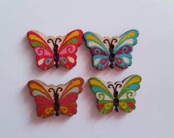 Set of 10 wooden Butterfly buttons