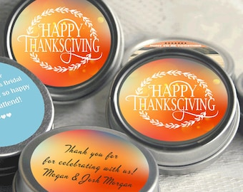 Personalized Mint Tins - 12 Thanksgiving Mint Tins  - Thanksgiving Favors - Thanksgiving Decor - Thanksgiving labels