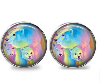 SET OF 2 Rainbow Pastel Polar Baby Bears Kids Room Nursery Decor Nickel  Silver U0026 GLASS Cabinet Drawer Closet Door Knob Pull Handle