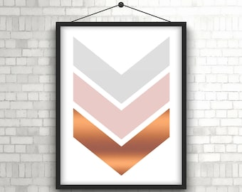 "Chevron Print, Pink Copper Art, Rose Gold, Digital Download, Blush Print, Geometric Print, Pastel Art, Scandinavian Printable Art. ""11"""