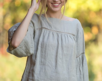 Linen Blouse Laced/  Boho blouse/ Linen Oversize Top/ Linen Tank/ Hippie Blouse/ Linen Shirt 3/4 sleeves/