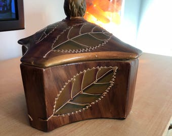 Painted Leaf Decorative Container
