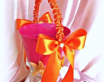 Starfish beach wedding flower girl pail, hot pink and orange flower girl basket. READY TO SHIP
