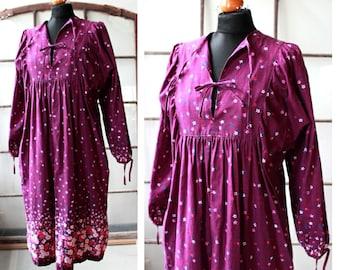 Vintage cotton hippie dress, boho dress, purple, free form, L, 70s, 1980s