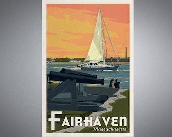 Fairhaven, Massachusetts, Fort Phoenix Retro Styled Poster