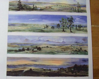 Vintage RARE Collectable Authentic Mackenzie Childs Watercolor  Landscape  Panoramic Upstate New York ScenesPrint