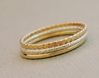Set of 3 Thin Stacking Rings Gold Rings and Silver Ring stackable ring summer jewelry