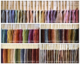 FREE PATTERN + Silk Floss w/purchase CLASSiC COLORWoRKS Starter Packs hand-dyed embroidery floss thread primitive classic neutral bright