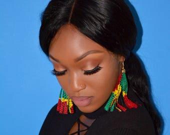 Red, Yellow, Green Ankara Tassel Earrings