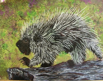 Porcupine Green Speckled Original Painting