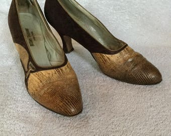 1920s Suede and Reptile Pumps