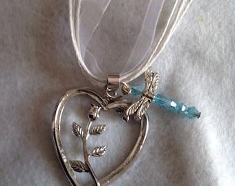 Silver Rose Heart Necklace,Valentine Rose Heart Pendant Necklace. Heart Jewelry, Silver Heart Necklace, Red Heart Jewelry, girlfriend Jewelr