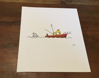 Shark Boat - Handmade Original Artwork by Adele Mary - Inspired by the Movie Jaws- Shark, Boat, Horror Homage, Stickman