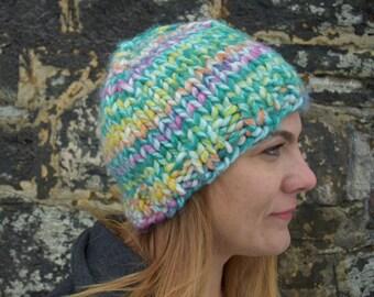 Rainbow Knit Winter Beanie, Rainbow Hat, Vegan Knit Beanie, Slightly Slouch Hat, Winter Hat