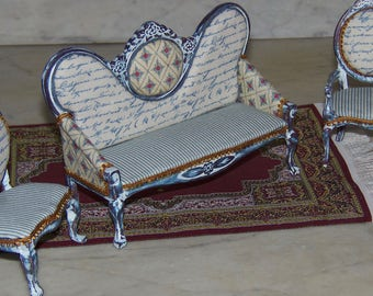 1:12th Dollhouse Shabby Chic Sofa      French Country.  Cottage  Look.  Blue, White, Gold Trim.