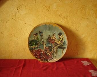 Assiette bois peinte Rionso. Danses espagnoles. Flamenco. No copy. Vintage.