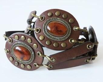 Medallion Belt Vegan Leather Belt Faux Amber Beads Bronze Cast Belt Medallion Metal Belt Boho Hippie Tribal Belly Dancer Fashion