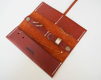 Brown Leather Watch Roll with Custom Slots Watch Case